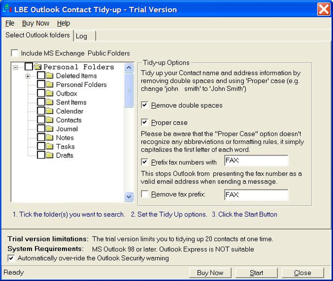 LBE Contact Tidy Up for MS Outlook Screenshot