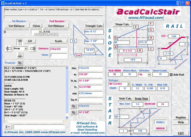 AcadCalcStair Screenshot 2
