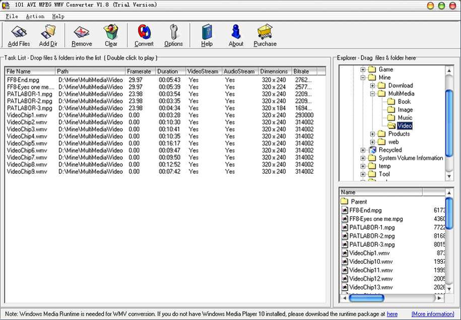 101 AVI MPEG WMV Converter Screenshot