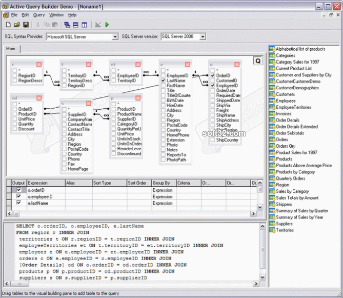 Active Query Builder ActiveX Edition Screenshot 2
