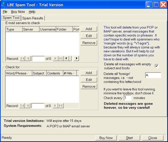 LBE Spam Tool Screenshot