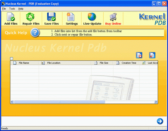 Kernel Palm PDB - File Repair Software Screenshot