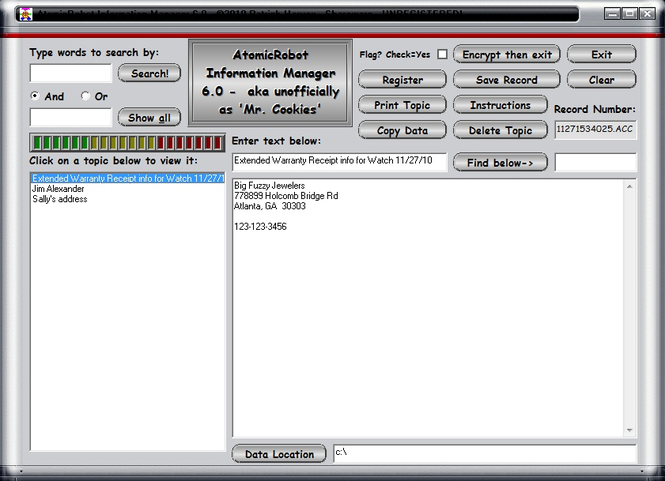 AtomicRobot Information Manager Screenshot