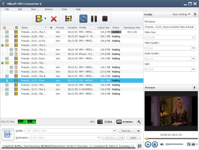 Xilisoft MP4 Converter Screenshot 1