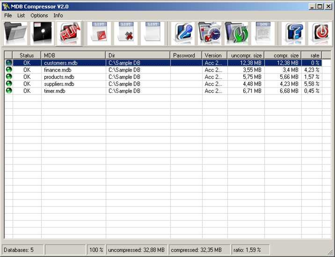 MDBC database compressor Screenshot 1