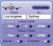 AirCompare Yahoo! Widget Screenshot 1