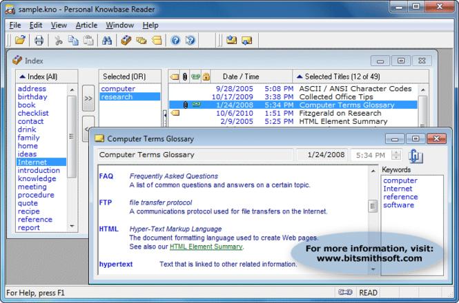 Personal Knowbase Reader Screenshot