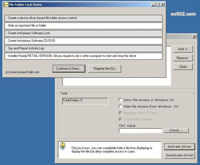 File Lock DLL Device Driver Screenshot 1