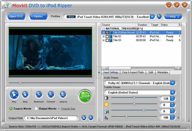 Movkit DVD to iPod Ripper Screenshot