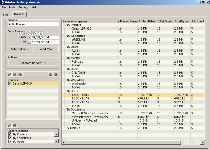 Printer Activity Monitor Screenshot 3