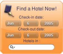 HotelSearch Yahoo! Widget Screenshot