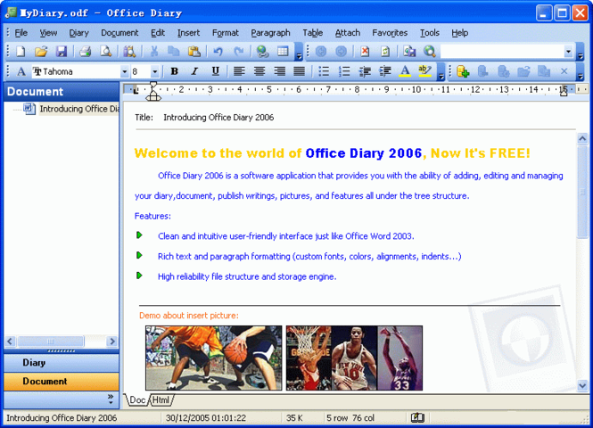 Office Diary 2006 Screenshot 1