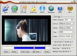 AVI MPEG WMV RM to MP3 Converter Screenshot 1