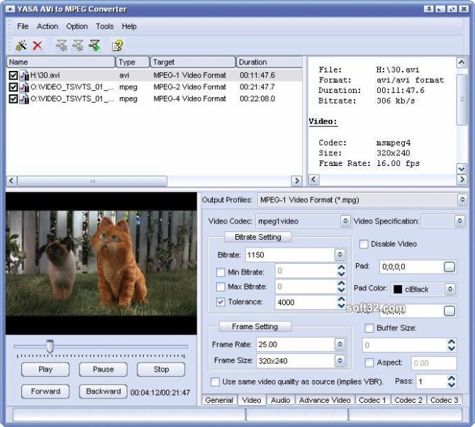 YASA AVI to MPEG Converter Screenshot 3
