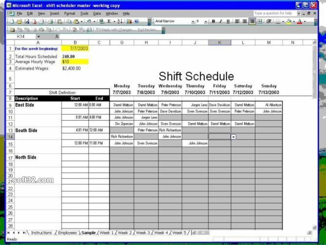Shift Scheduler for Excel Screenshot 3