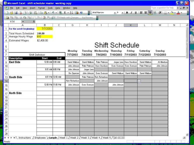 Shift Scheduler for Excel Screenshot