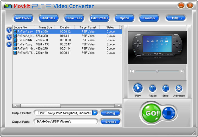 Movkit PSP Video Converter Screenshot