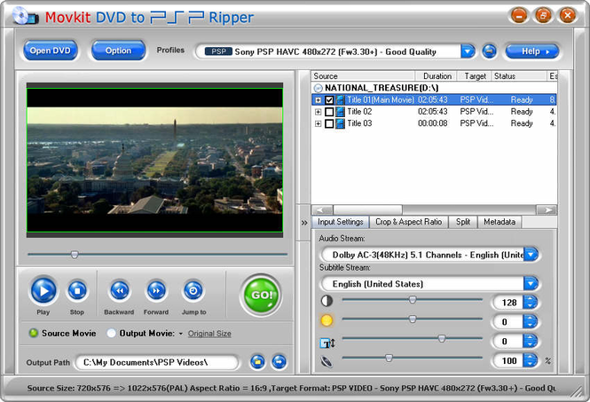 Movkit DVD to PSP Ripper Screenshot