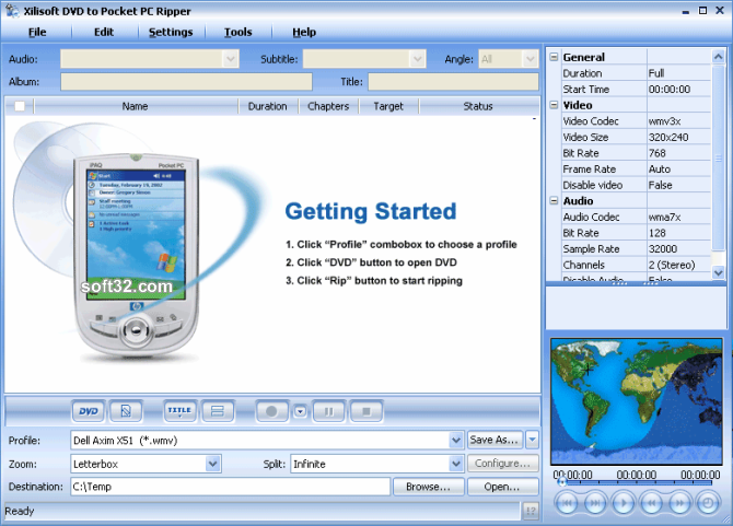 Xilisoft DVD to Pocket PC Ripper Screenshot 3