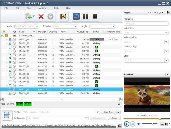 Xilisoft DVD to Pocket PC Ripper Screenshot 1