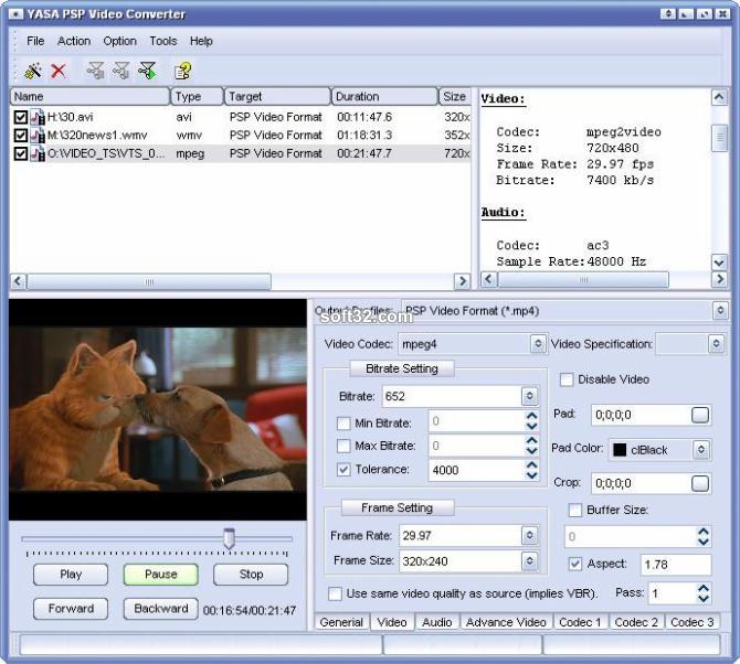YASA PSP Video Converter Screenshot 3