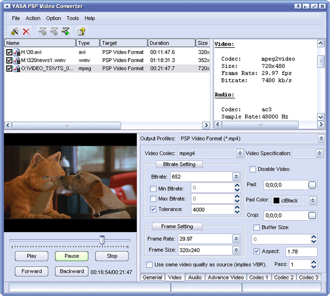 YASA PSP Video Converter Screenshot 1