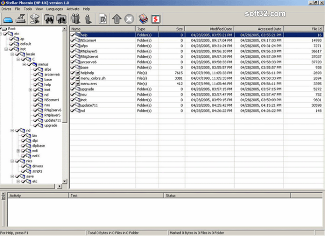 Stellar Phoenix HP UNIX - Data Recovery Software Screenshot