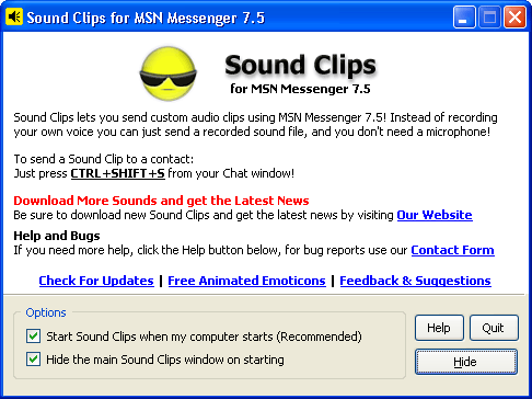 Sound Clips for MSN Messenger Screenshot