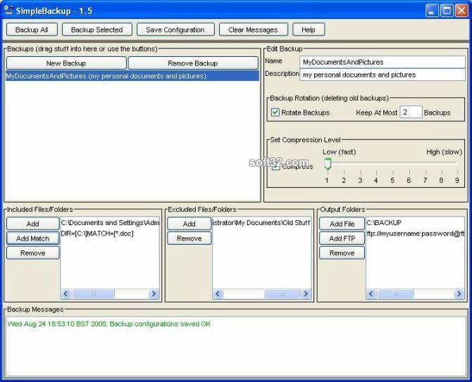 SimpleBackup Screenshot 2