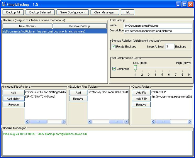SimpleBackup Screenshot 1