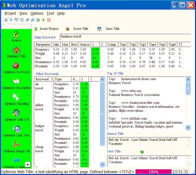 007 Web Optimization Angel Screenshot