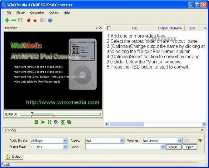 WinXMedia AVI/MPEG iPod Converter Screenshot 3