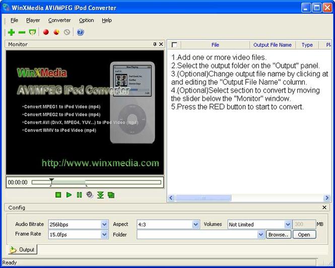 WinXMedia AVI/MPEG iPod Converter Screenshot 1