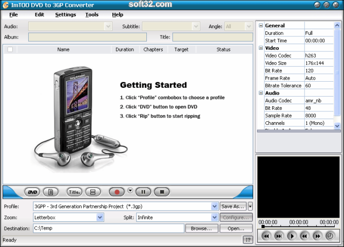 ImTOO DVD to 3GP Suite Screenshot 3