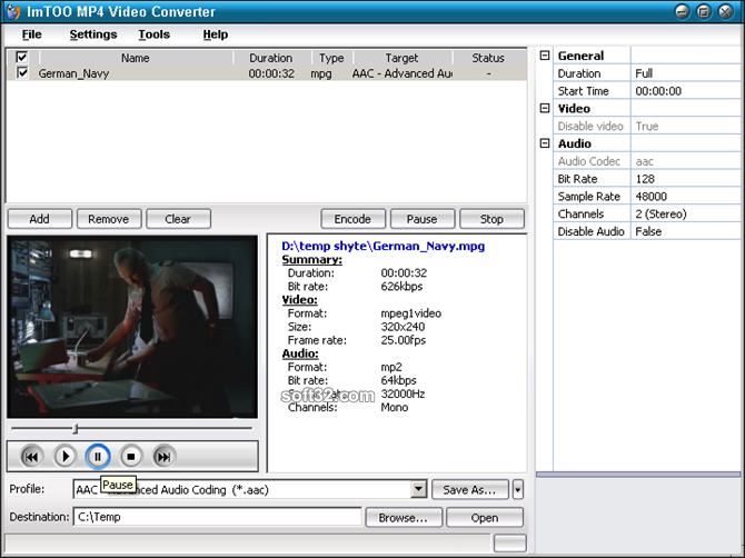 ImTOO MP4 Video Converter Screenshot 2