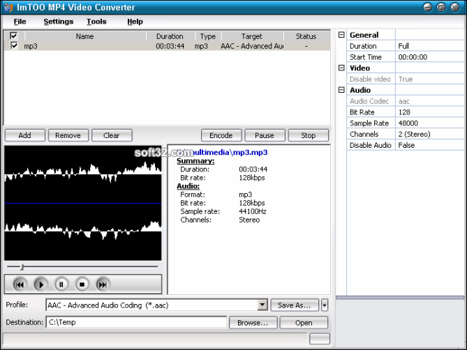 ImTOO MP4 Video Converter Screenshot 4