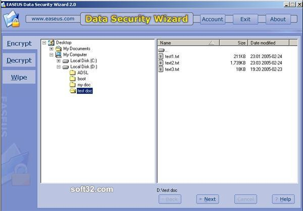 EASEUS Data Security Wizard Screenshot 1