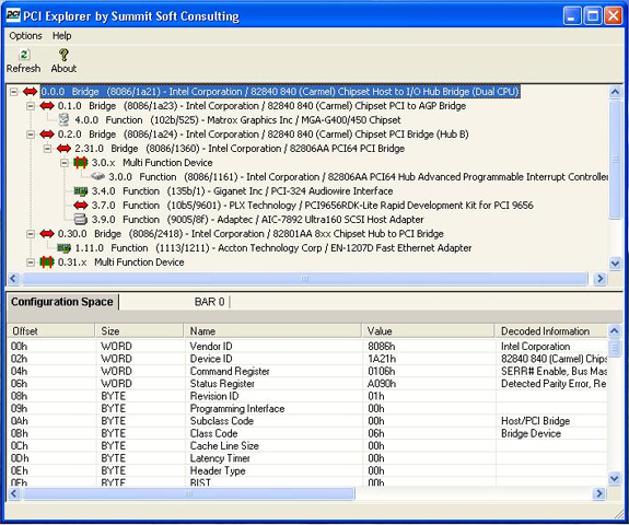 PCI Explorer Screenshot