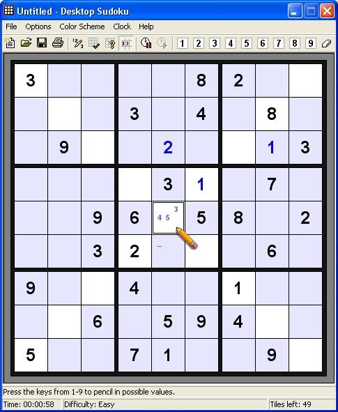 Desktop Sudoku Screenshot 1