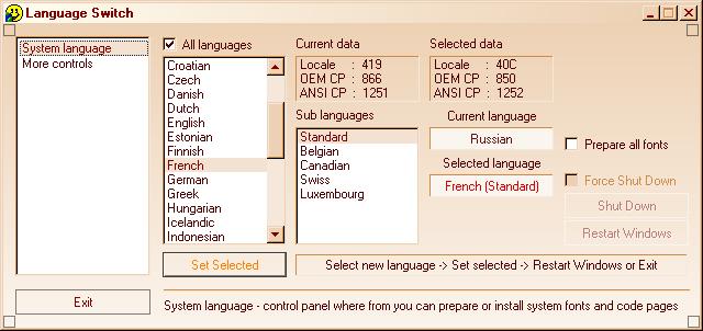Language Switch - Pan European for Win98,ME Screenshot 1