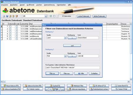 Abetone-Datenbank Screenshot 2