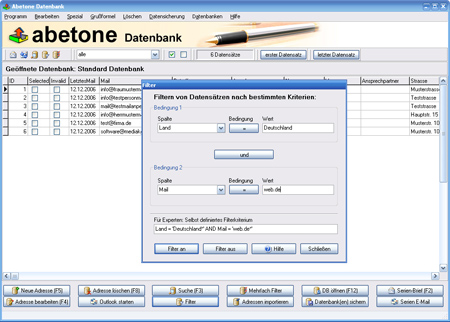 Abetone-Datenbank Screenshot