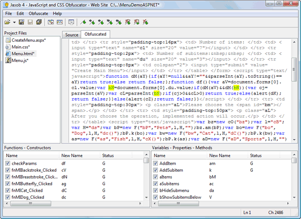 Jasob JavaScript Obfuscator Screenshot