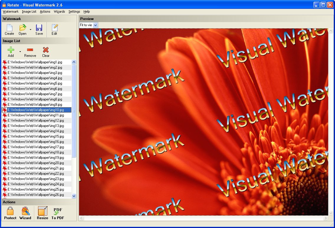 Visual Watermark Software - Photo Watermarking Software Screenshot
