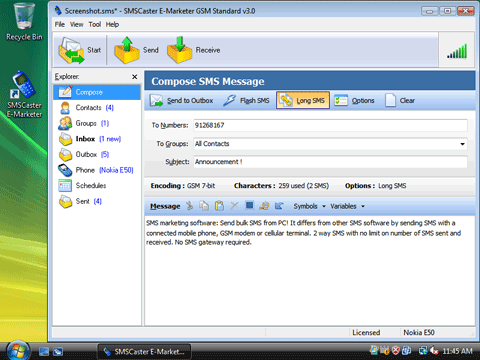SMSCaster E-Marketer GSM Standard Screenshot