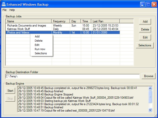 Enhanced Windows Backup Screenshot