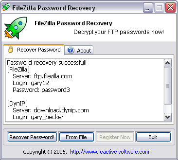 Password Recovery for FileZilla Screenshot