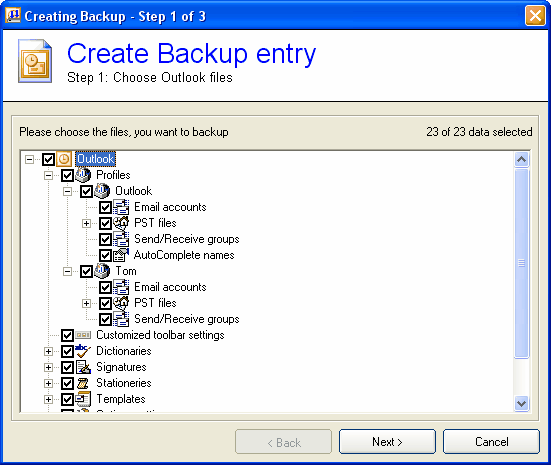 Backup Outlook Screenshot 1