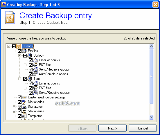 Backup Outlook Screenshot 2