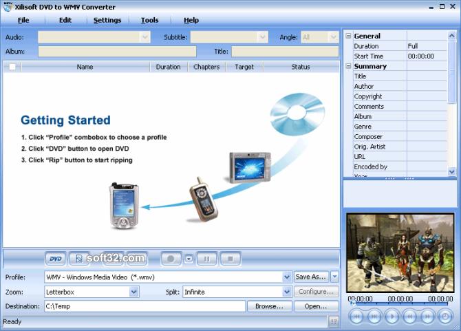 Xilisoft DVD to WMV Converter Screenshot 2